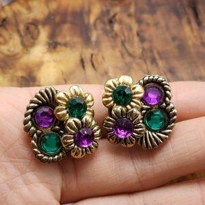 Vintage acrylic jewels bold 80s color queen mardis